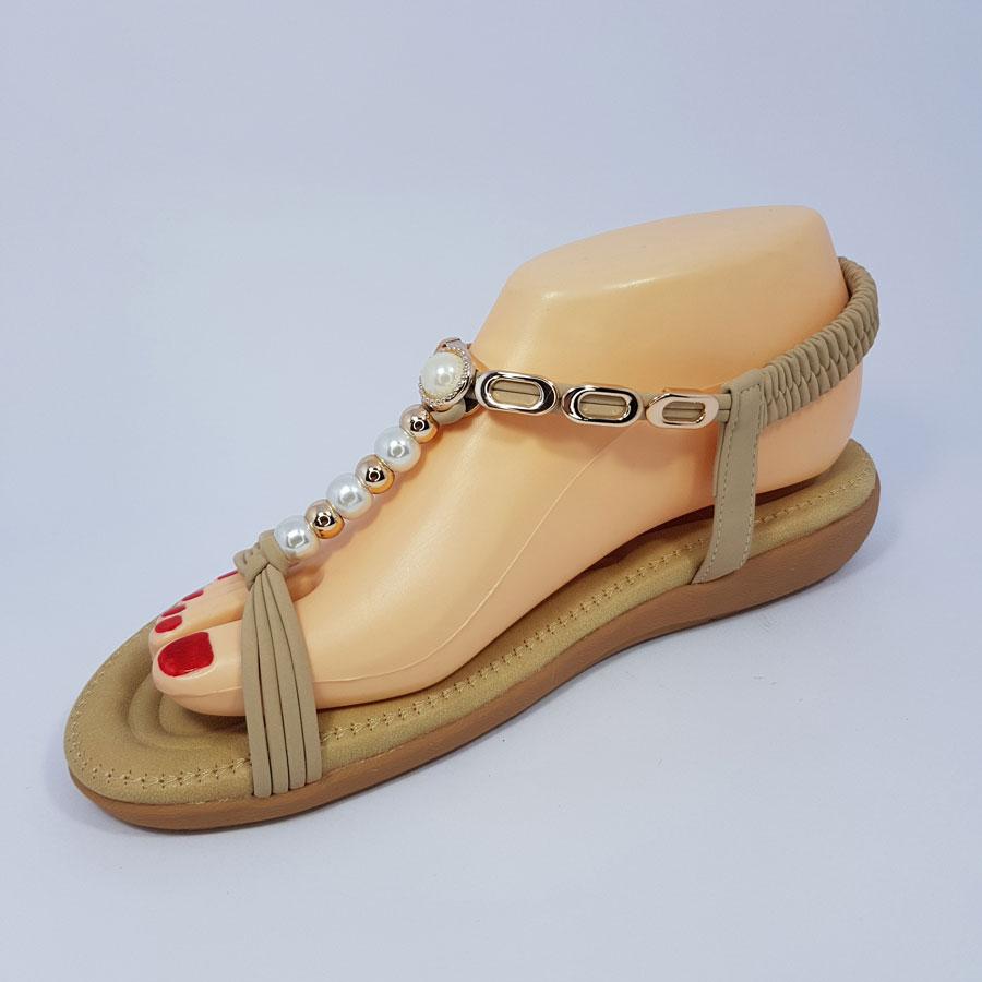 Women's Pearl Beige Flat Sandals